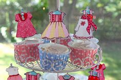 pink and blue fashion dress up birthday party cupcake toppers were cute dresses on toothpicks DIY
