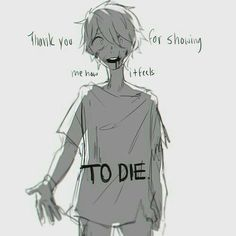 Thank you for showing me how it feels to die, sad, text, Anime boy, blood; Anime