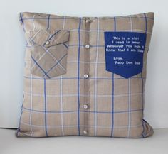 My customer sent a shirt that was precious to her. We talked about some aspects of what she wanted done with the shirt. But it is often hard to know what I am dealing with until I receive th… Memory Pillow From Shirt, Memory Pillows, Memory Quilts, Sewing Tutorials, Sewing Projects, Sewing Patterns, Pillow Patterns, Sewing Ideas, Old Shirts