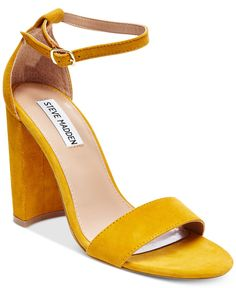 The block heel adds mod appeal to these yellow suede Steve Madden Carrson sandals. Score them at Macy's!
