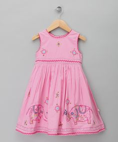 Pink Elephant A-Line Dress - Toddler & Girls
