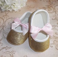 Gold Baby Shoes Pink and Gold First by SweetestBabyCreation