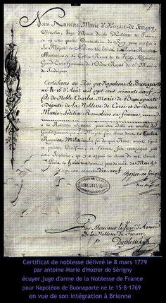 certificat de noblesse pour la famille Bonaparte par d'Hozier 1779;le 8 mars
