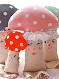 Cloth mushroom toadstool plush softie art doll pink cream polka dot anthropomorphic. £39.00, via Etsy.