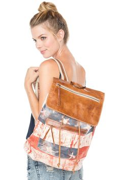 Brandy ♥ Melville | American Flag Leather Flap Backpack - Bags - Accessories