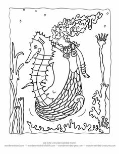 mermaid on seahorse coloring pages at httpwwwwonderweirdedcom