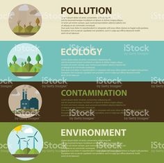 Ecology, environment, green energy and pollution. web banner ロイヤリティフリーのイラスト素材