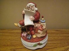 "Free Shipping on Vintage Old Fashioned Santa Rotating Musical Figurine Playing ""Silent Night"""