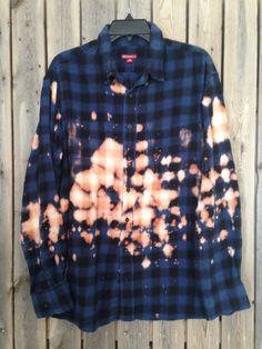 Super soft grunge bleached flannel unisex shirt XLarge