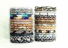 Wholesale Nepal Roll On Bracelet Grab Bag of 10 in Neutral & Metallic Hues, Glass Seed Bead Bracelets, Lotus Sky, Gypsy Yoga Bracelets