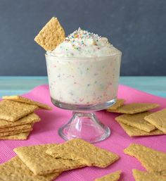 Cheesecake Cake Batter Dip   8 oz room temp cream cheese, 1/2 cup sour cream, 1/2 cup white cake mix, 1 cup powdered sugar, 1 tsp vanilla extract, 1/4 cup sprinkles, and graham crackers for dipping