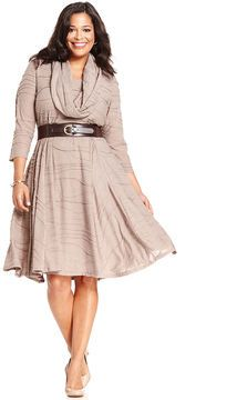 Jessica Howard Plus Size Dress, Three-Quarter-Sleeve Belted Cowl-Neck Sweater on shopstyle.com