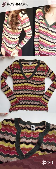 M Missoni striped multicolor crochet top -B8 In good condition! Stunning M Missoni striped multicolor long sleeve top, size 2. Loose fit. Stretch. Gorgeous colors and pattern! Used item: pictures show any signs of wear. Inspected for quality. Bundle up! Offers always welcome:)  Check out my husband's closet: @kirchingeraaron M by Missoni Tops