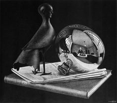 Still-life with a spherical mirror (1934) by M. C. Escher