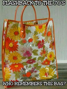 This orange, floral plastic tote was everywhere in the This is so pretty. As an adult now, I have a new appreciation for many retro items that I grew up with. My Childhood Memories, Childhood Toys, Great Memories, 1970s Childhood, Nostalgia, I Remember When, Ol Days, My Memory, The Good Old Days