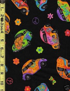 OOP Hippie Peace VW Volkswagon Love Bug Beetle Car Cotton Fabric Fat Quarter #Cranston