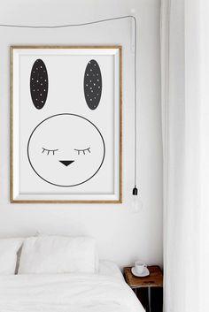 Noir et blanc cadeau de Pâques  Easter Bunny Rabbit par alphonnsine