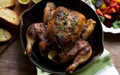Using a quick-roasting technique and a good cast iron pan, this recipe for sumac, thyme, and lemon-roasted chicken comes out with crisp skin and super moist meat.