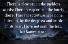 There is pleasure in the pathless woods; There is rapture on the lonely shore; There is society, where none intrudes, by the deep sea and music in its roar: I love not man the less, but Nature more. Great Quotes, Inspirational Quotes, The O'jays, Pantheism, Daily Mantra, Lord Byron, Speak The Truth, Deep Sea, How I Feel