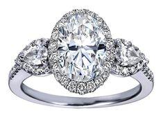 Oval Diamond Halo Engagement Ring Pear Shape Side Stones