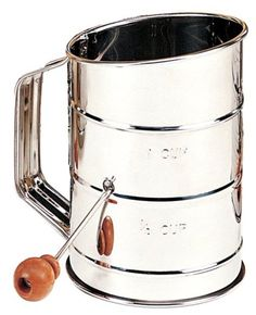 Mrs. Anderson's Baking 3 Cup Crank Flour Sifter, Stainless Steel