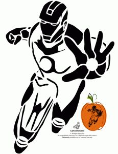 iron man pumpkin pattern 231x300 Marvels Avengers Printable Pumpkin Stencils