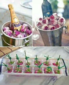 Frozen flowers in a ice cube tray with water. When fully frozen snap off stems and place in waiting wine holder.