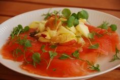 Salt cured salmon with apple and horseradish salad, recipe in English from Lynn Andersen of New Nordic Cooking