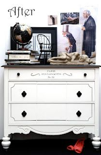 WHITE FRENCH DRESSER... PAINTING GRAPHICS ON FURNITURE... Graphic from Graphics Fairy.