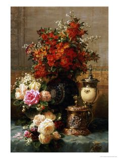 Still Life of Roses and Other Flowers Art Print at AllPosters.com