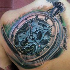 Back Old School Clock Tattoo For Men