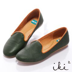 iki2甜漾漫步-真皮繽紛百搭樂福鞋-綠蛇紋 - Yahoo!奇摩購物中心