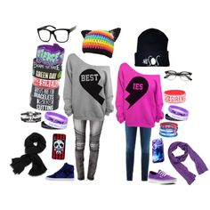 """Me and my bff syd love u bb u r always there for me plz dnt leave"" by emoluver39 on Polyvore"