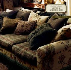Ralph Lauren Home Collection 17 - Sofa - Ralph Lauren Home Collection 17 – Sofa - Ralph Lauren Home Living Room, My Living Room, English Country Decor, French Country Living Room, Tartan, Decoration Entree, Grey Flannel, Flannel Suit, Ralph Lauren Style