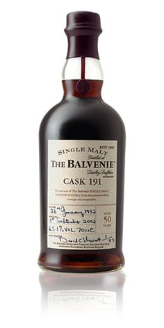Discover The Balvenie Cask 191 50 Year Old Single Malt Whisky. Explore the history & tasting notes of this crafted single malt whisky. Good Whiskey, Cigars And Whiskey, Scotch Whiskey, Bourbon Whiskey, Whiskey Bottle, Whiskey Brands, Gin, Tequila, Single Malt Whisky