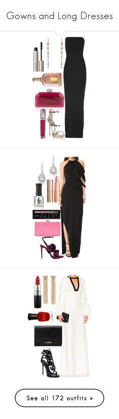 """""""Gowns and Long Dresses"""" by fcharese ❤ liked on Polyvore featuring Judith Leiber, Rick Owens, Giuseppe Zanotti, Renee Lewis, Urban Decay, Tom Ford, Ilia, Halston Heritage, Bloomingdale's and Marco de Vincenzo"""