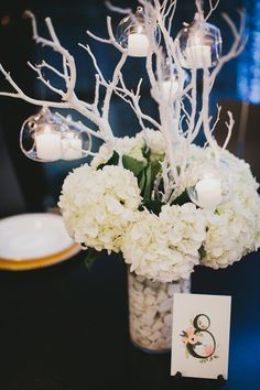hydrangea and manzanita branch centerpiece, photo by Carina Skrobecki http://ruffledblog.com/seattle-escala-wedding #weddingideas #flowers #centerpieces