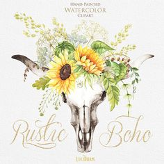 Watercolor Boho Bull Skull with Sunflower Bouquet with Wild Herbs. Clipart Antlers, Horns, Rustic Wedding Invitations, Sunshine Bouquet