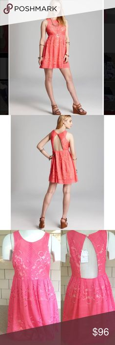 Free People Rocco Cherry Cut Out Lace Dress Polyester Lace overlay with viscose/cotton liner. Hand wash only. Free People Dresses Mini