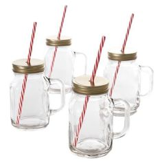Special Offers - Set of 4  Mason Jar Glasses with Side Handle Lid and Straws 19 Oz. - In stock & Free Shipping. You can save more money! Check It (August 19 2016 at 12:51AM) >> http://uniquewineglass.net/set-of-4-mason-jar-glasses-with-side-handle-lid-and-straws-19-oz/