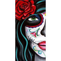 Green Eyes, Day of the Dead Art by Melody Smith ❤ liked on Polyvore featuring home, home decor and wall art
