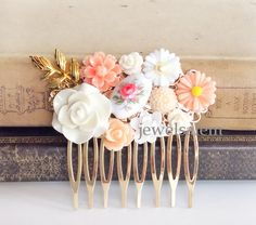 Peach Wedding Hair Comb Coral Gold Blush Pink White Vintage Glass Flower Leaf Bridal Headpiece Romantic Dreamy Shabby Chic Soft Pastel