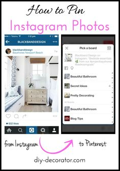 How to Pin Instagram Photos.  Seen something you like on instagram?  Save it to your Pinterest board.  Step by step tutorial.