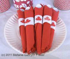 red cloth or red paper napkins. Print the little napkin rings and use a glue stick. You can even print their names on the printed napkin ring too. Happy Birthday Canada, Happy Canada Day, Canada Day Crafts, Canada Day Party, Canada Holiday, O Canada, Party Entertainment, Time To Celebrate, Favorite Holiday
