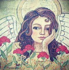 Painted a new angel this week.....©Teresa Kogut #angel #art #painting