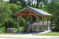 Pavilion projects, Post and beam structures by Sand Creek Post & Beam. View this gallery for ideas on your next dream barn. Backyard Picnic, Backyard Pavilion, Backyard Buildings, Backyard Landscaping, Backyard Ideas, Pole Barn House Kits, Pole Barn Homes, Barn Kits, Pergula Patio