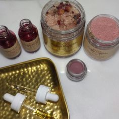 rose holiday gift set with rose elixir, rose sugar scrub, rose clay mask, rose hydrosol and rose tinted lip conditioner