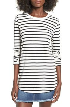 BP. Stripe Crewneck Tee available at #Nordstrom (NOTE: tunic length)