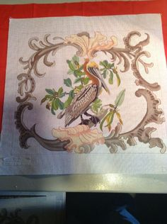 Large Gorgeous HP Needlepoint canvas Pelican Bird Wildlife By DECORATIONS #Unbranded