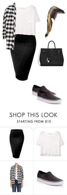 """Untitled #82"" by mayventu1999 on Polyvore featuring J.TOMSON, MANGO, 6397, Vans and Yves Saint Laurent"